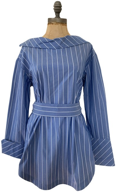 Item - Blue White Stripes Button-back Belted Shirt Blouse Size 6 (S)