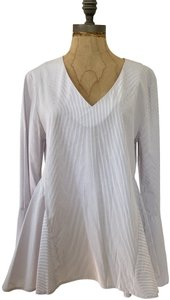 Romeo & Juliet Couture Flutter Hem Cotton Blend Casual Wear To Work Top red, white stripes