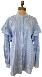 Trouvé Ruffles Button Down Casual Wear To Work Top blue, white stripes