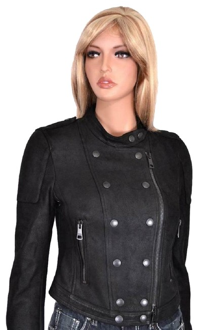 Item - Black New Leather Shearling Cropped Biker Jacket Coat Size 2 (XS)