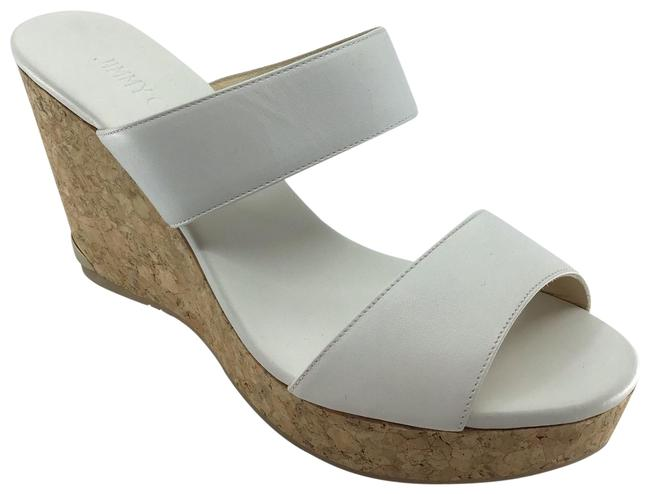 Item - White Leather Double Strapped Cork Sandals Wedges Size US 9 Regular (M, B)