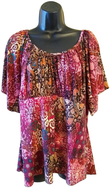 Item - Burgundy/Multi Color Burgundy/Multi Peasant Style Blouse Size 14 (L)