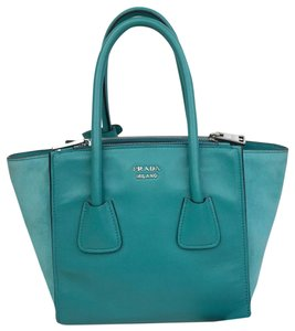 Prada Leather Mini Twin Satchel in Blue