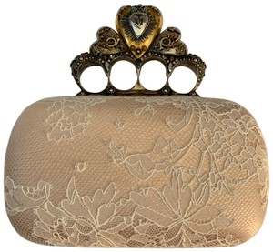 Alexander McQueen nude, tan, gold, silver, cream Clutch