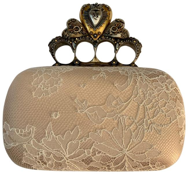 Item - Queen Of Hearts Four Ring Nude Tan Gold Silver Cream Mixed: Leather Lace Satin Metals Clutch