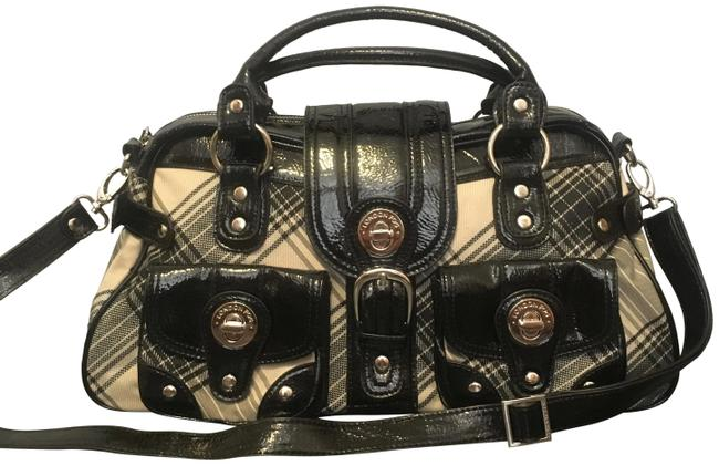 Item - Two-tone Faux Leather Purse with Strap Black and Tan Cloth Shoulder Bag