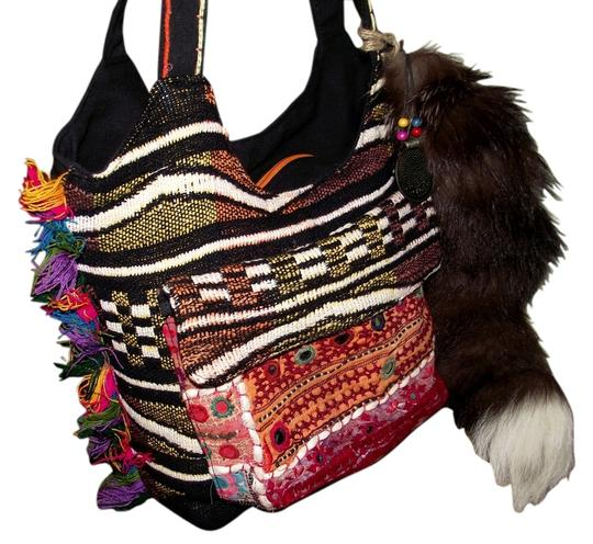 Preload https://item1.tradesy.com/images/large-ethnic-handbag-with-genuine-fox-tail-aztec-india-africa-morocco-hipster-pink-green-blue-purple-2730250-0-0.jpg?width=440&height=440