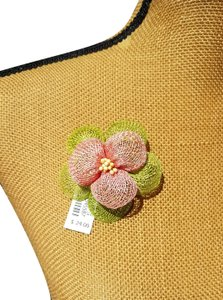 Talbots Talbots Pink and Green Flower Straw Pin.