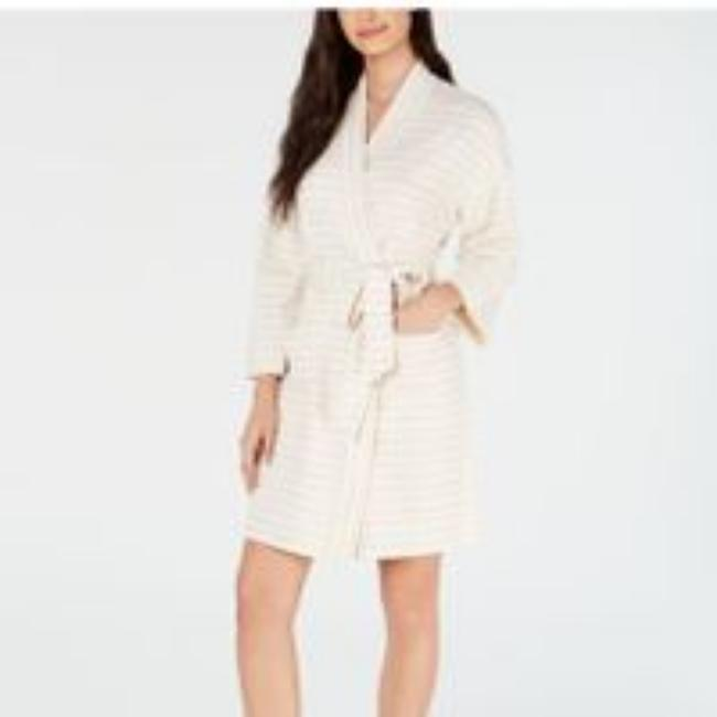 Item - Ivory XL New Cream Striped Belted Bathing Robe Activewear Outerwear Size 16 (XL, Plus 0x)