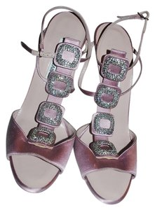 Manolo Blahnik Jeweled Buckle Sandals T Strap Satin Sandals Mules