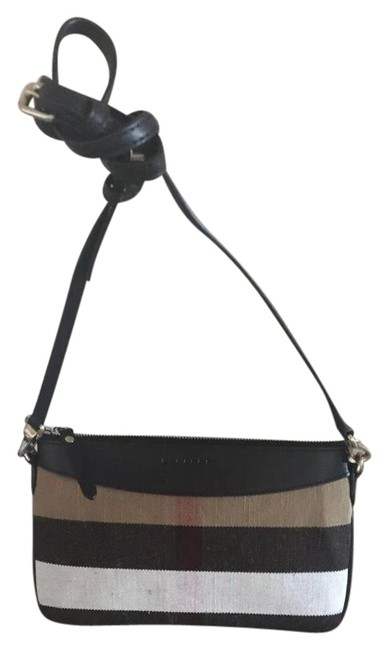 Burberry Clutch Peyton / / Black Leather with Check Canvas and Cross Body Bag Burberry Clutch Peyton / / Black Leather with Check Canvas and Cross Body Bag Image 1