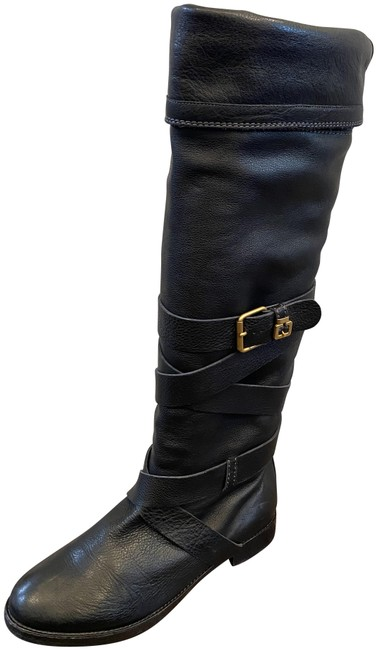 Chloé Black Prince 999 Pebbled Leather Knee High Round Toe Flat Buckle Detail Boots/Booties Size US 8.5 Regular (M, B) Chloé Black Prince 999 Pebbled Leather Knee High Round Toe Flat Buckle Detail Boots/Booties Size US 8.5 Regular (M, B) Image 1