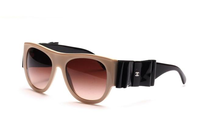 Chanel Beige and Black Ch 5276-q 528/S5 55mm Leather Ribbon Collection Oversized Browline Sunglasses Chanel Beige and Black Ch 5276-q 528/S5 55mm Leather Ribbon Collection Oversized Browline Sunglasses Image 1