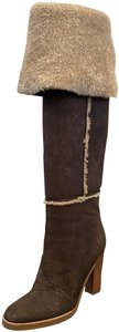 Michael Kors Collection Shearling Leather Brown Boots