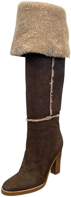 Item - Brown Leather Shearling Over-the-knee Boots/Booties Size US 8.5 Regular (M, B)