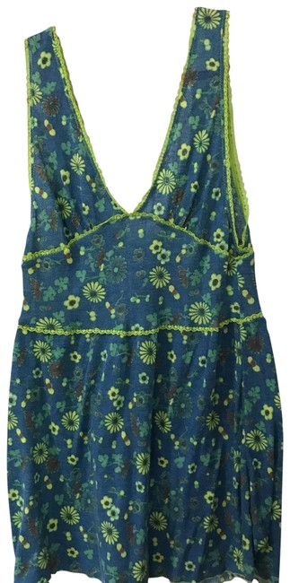 Free People Blue Yellow Tank Top/Cami Size 8 (M) Free People Blue Yellow Tank Top/Cami Size 8 (M) Image 1