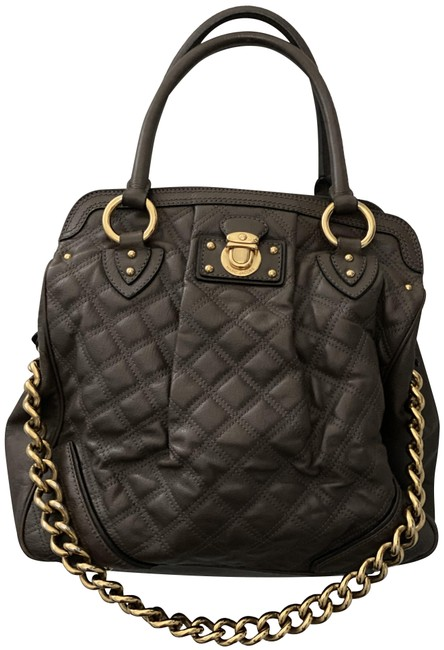 Marc Jacobs Quilted with Gold Chain Grey Leather Satchel Marc Jacobs Quilted with Gold Chain Grey Leather Satchel Image 1