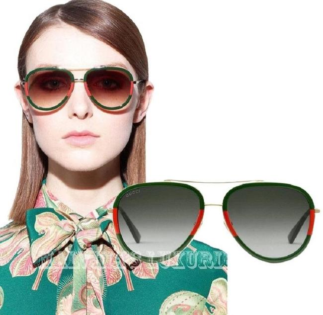 Gucci Red/Green/Gold Gg0062s 003 Gg0062 Aviator Unisex Sunglasses Gucci Red/Green/Gold Gg0062s 003 Gg0062 Aviator Unisex Sunglasses Image 1