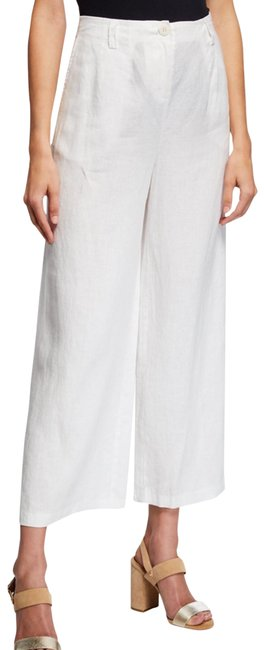 Item - White New High Waist Organic Linen Ankle Trousers Pants Size 14 (L, 34)