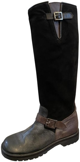Preload https://img-static.tradesy.com/item/27303675/ralph-lauren-collection-black-and-brown-leather-suede-flat-buckle-detail-bootsbooties-size-us-8-regu-0-1-540-540.jpg