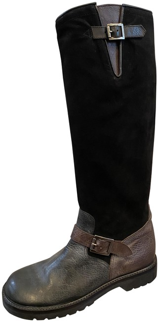 Ralph Lauren Collection Black & Brown Leather Suede Flat Buckle Detail Boots/Booties Size US 8 Regular (M, B) Ralph Lauren Collection Black & Brown Leather Suede Flat Buckle Detail Boots/Booties Size US 8 Regular (M, B) Image 1