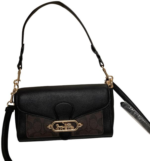 Coach Shoulder Small Jade with Signature Canvas Detail Brown Black Leather Cross Body Bag Coach Shoulder Small Jade with Signature Canvas Detail Brown Black Leather Cross Body Bag Image 1