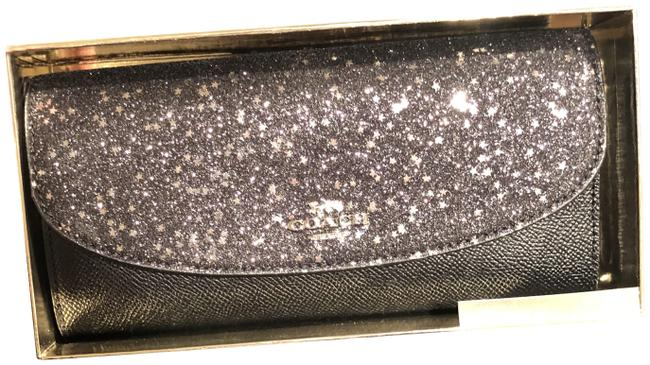 Coach Black/Silver F38692 Boxed Slim Envelope with Star Glitter Wallet Coach Black/Silver F38692 Boxed Slim Envelope with Star Glitter Wallet Image 1