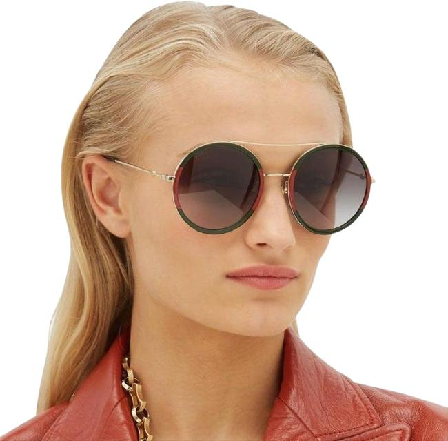 Gucci Red/Green/Gold Gg0061s 003 Gg 0061s Round Sunglasses Gucci Red/Green/Gold Gg0061s 003 Gg 0061s Round Sunglasses Image 1