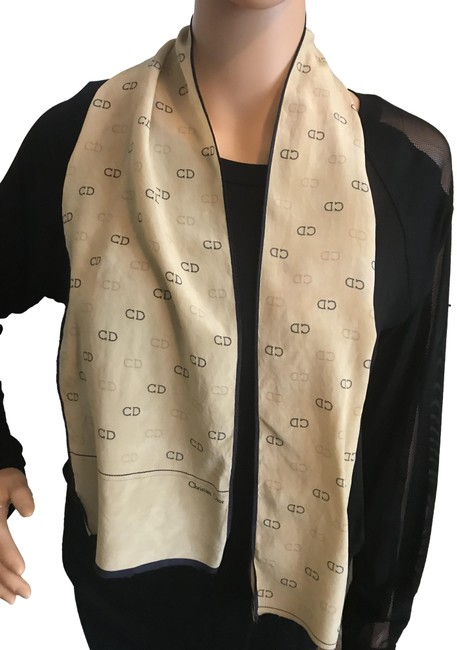 Dior Beige and Black Free Face Protector Silk Scarf/Wrap Dior Beige and Black Free Face Protector Silk Scarf/Wrap Image 1