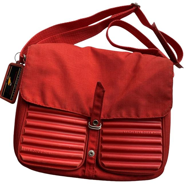 Mandarina Duck Red Ribbed Rubber and Fabric Messenger Bag Mandarina Duck Red Ribbed Rubber and Fabric Messenger Bag Image 1