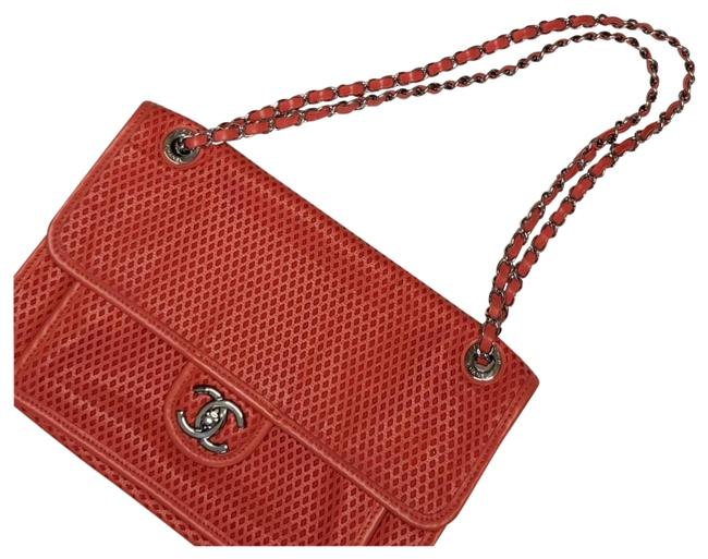 Chanel Handbag Classic Flap Up In The Air Perforated Coral Calfskin Leather Shoulder Bag Chanel Handbag Classic Flap Up In The Air Perforated Coral Calfskin Leather Shoulder Bag Image 1