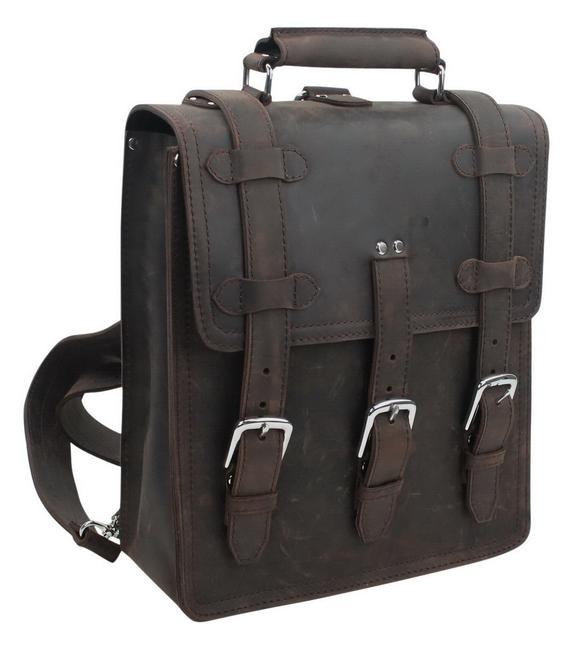 "Vagarant 13"" Macbook Pro - Full Lb03 Dark Distress Leather Backpack Vagarant 13"" Macbook Pro - Full Lb03 Dark Distress Leather Backpack Image 1"