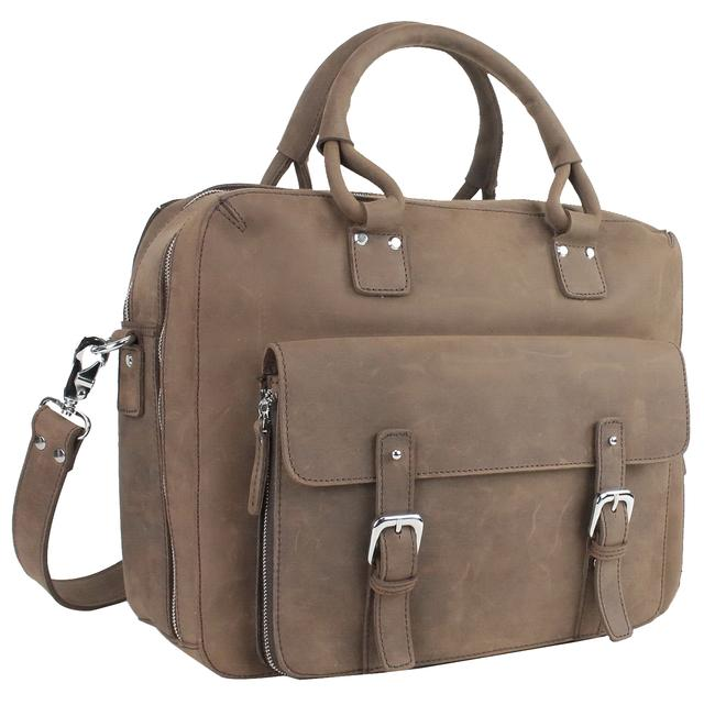 Vagarant Full Travel Tote Lb07 Coffee Brown Leather Laptop Bag Vagarant Full Travel Tote Lb07 Coffee Brown Leather Laptop Bag Image 1