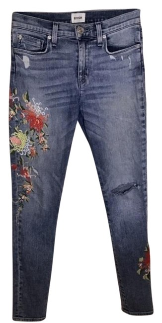 Item - Red Blue Nico Mid Rise Ankle Floral Embroidered Skinny Jeans Size 26 (2, XS)
