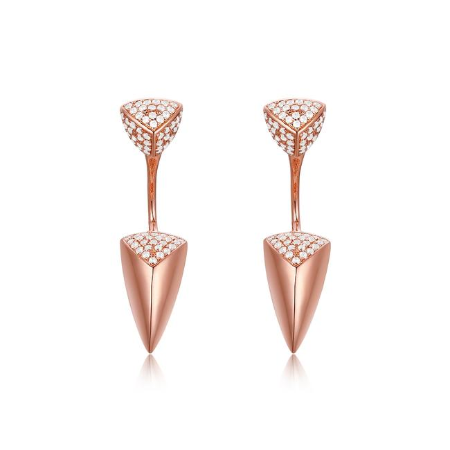 Unbranded Rose 14k Gold Diamond Earrings Unbranded Rose 14k Gold Diamond Earrings Image 1