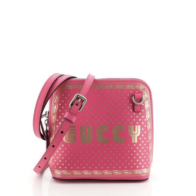 Gucci Dome Limited Edition Printed Mini Pink Leather Cross Body Bag Gucci Dome Limited Edition Printed Mini Pink Leather Cross Body Bag Image 1