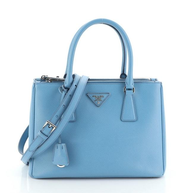 Prada Galleria Double Zip Saffiano Small Blue Leather Tote Prada Galleria Double Zip Saffiano Small Blue Leather Tote Image 1