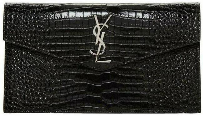 Item - Black Silver Clutch Pouch Croc Leather Uptown Card Case Handbag Wallet