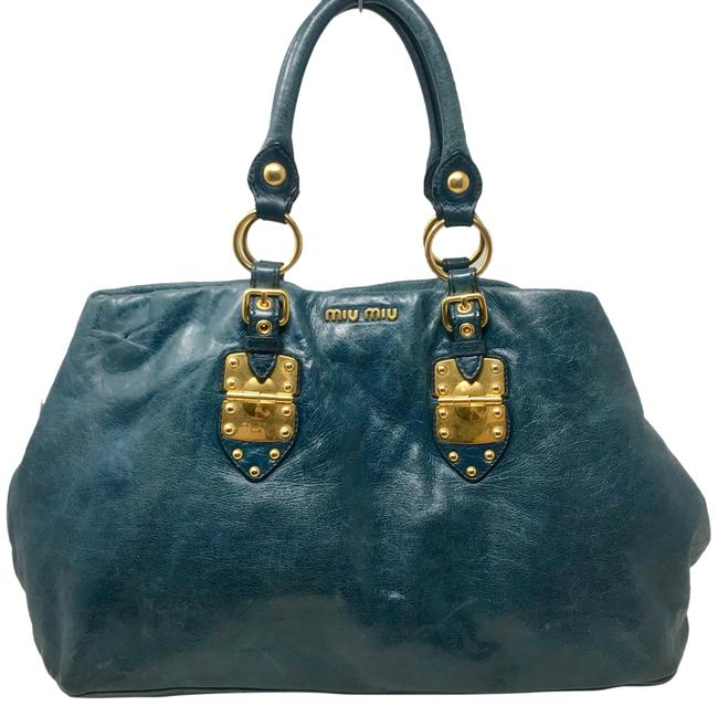 Miu Miu Coffer Glazed Vitello Shine Blue Leather Tote Miu Miu Coffer Glazed Vitello Shine Blue Leather Tote Image 1