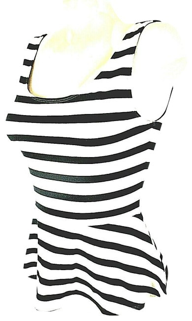 Express Women's Black Striped Skater Zip Tank Blouse Size 4 (S) Express Women's Black Striped Skater Zip Tank Blouse Size 4 (S) Image 1