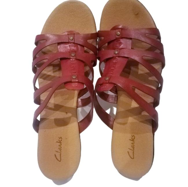 Clarks Red Leather Sandals Size US 12 Regular (M, B) Clarks Red Leather Sandals Size US 12 Regular (M, B) Image 1