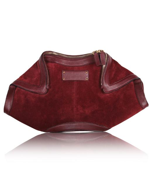 Alexander McQueen De Manta Burgundy Suede Leather Clutch Alexander McQueen De Manta Burgundy Suede Leather Clutch Image 1