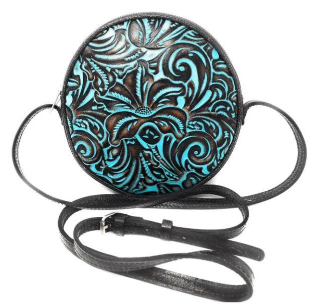Patricia Nash Designs Scafati Turquoise Brown Leather Cross Body Bag Patricia Nash Designs Scafati Turquoise Brown Leather Cross Body Bag Image 1