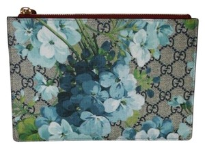 Gucci Blooms Gg Supreme Canvas Leather Floral BLUE Clutch
