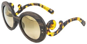 Prada RAW Baroque 27R Round Wood Malabar Sunglasses Brown Gold Mirror PR27RS