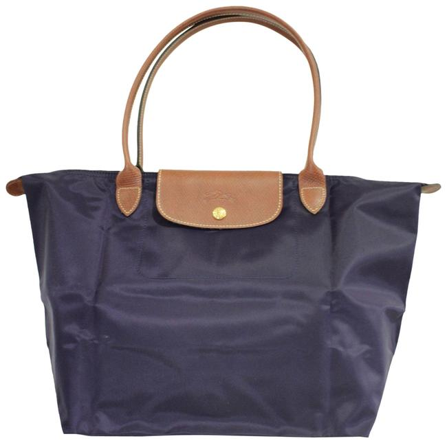 Longchamp Foldable Navy Blue Nylon Tote Longchamp Foldable Navy Blue Nylon Tote Image 1