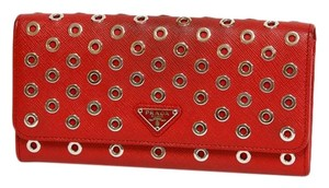 Prada PRADA long wallet ring motif studs red system leather Prada women's men's 2505