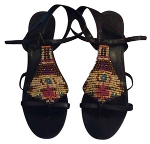 Nickels Dark brown with Multi colored beading Wedges