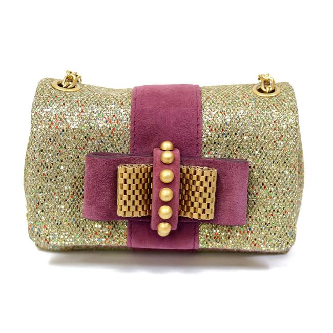 Christian Louboutin Party Chain Ribbon Ribon Studs Lame Hologram Ladies Men Gold / White Bow Shoulder Bag Christian Louboutin Party Chain Ribbon Ribon Studs Lame Hologram Ladies Men Gold / White Bow Shoulder Bag Image 1