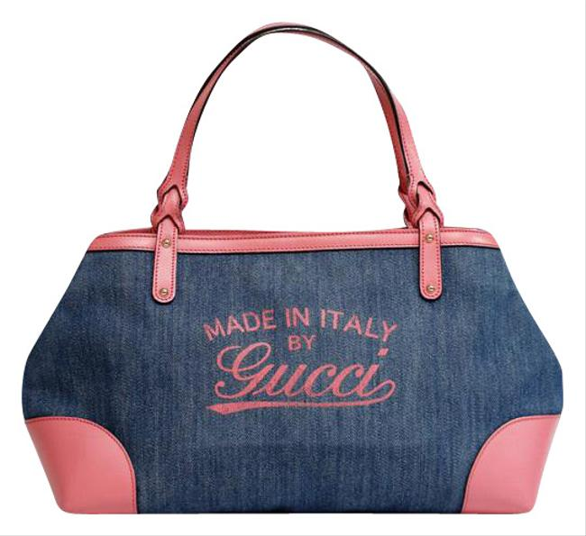 Gucci × Leather Tote Women   Kawaii Blue / Pink Denim Shoulder Bag Gucci × Leather Tote Women   Kawaii Blue / Pink Denim Shoulder Bag Image 1